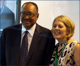 Walter Blount, Jr., at his retirement party, with Joanne Jensen, Director of Assessment Client Relations, Assessment and Standards Development Services at WestEd.